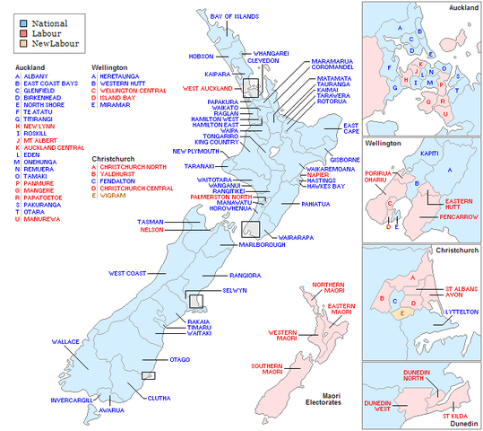 New Zealand Map Labeled.File Newzealandelectorates1990 Labeled Png Wikimedia Commons