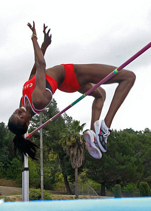 High jump - Canadian high jumper Nicole Forrester demonstrating the Fosbury flop