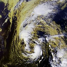 Satellite imagery showing a newly-transitioned hurricane
