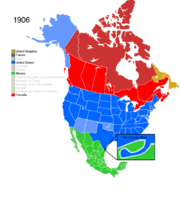Map showing Non-Native American Nations Control over N America c. 1906