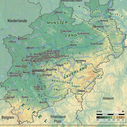 Geographic map of North Rhine-Westphalia North Rhine-Westphalia Topography 08.png