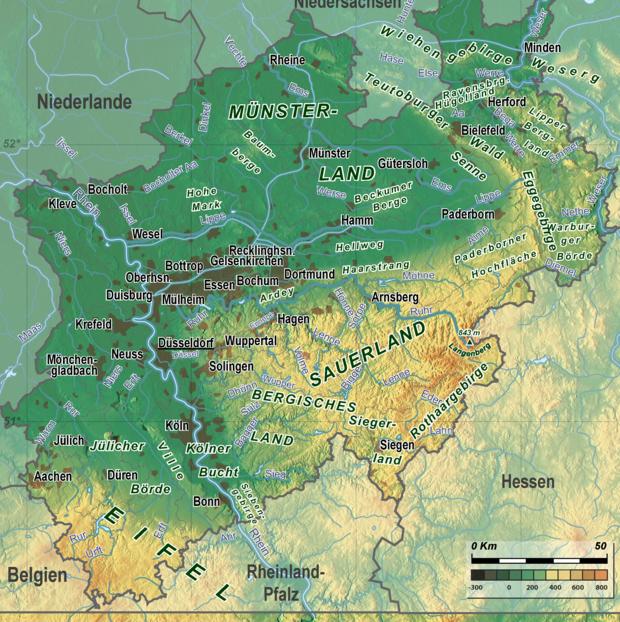 Sauerland Karte Berge.Liste Der Mittelgebirge In Nordrhein Westfalen Wikipedia