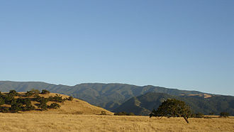 Transverse Ranges - Savannah-like oak woodlands are typical of the westernmost ranges; shown here is the north slope of the Santa Ynez Mountains