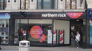 Virgin Money UK - A branch of the Northern Rock with Virgin Money branding on Briggate in Leeds