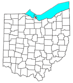 Location of Lakeside, Ohio