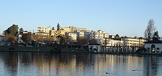 Adams Point, Oakland, California - A view towards the Grand Avenue side of Lake Merritt. The apartments in view are part of the Adams Point neighborhood and are typical of the dense housing found in the area.