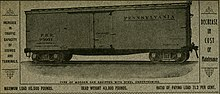 Ad showing a PRR wooden freight car with steel underframe