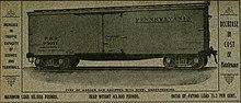 Annonce montrant un wagon de marchandises en bois PRR avec châssis en acier