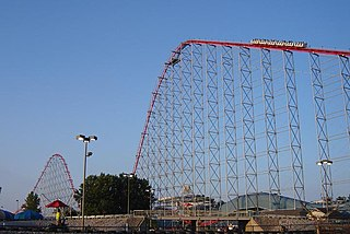 Hypercoaster type of roller coaster