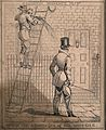 Oil is spilling on to a man as he walks by the ladder of the Wellcome V0040766.jpg