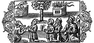 Pagan Lithuanians worshipping a grass snake, oak and holy fire. From Olaus Magnus' Historia de Gentibus Septentrionalibus (History of the Northern People), book 3, 1555. Olaus Magnus - On the Heathen Lithuanians Idolatrous.jpg