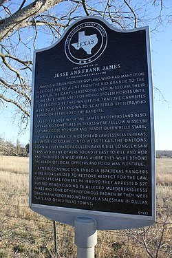 "Photo of Jesse James, Frank James, Thomas Coleman ""Cole"" Younger, and Belle Starr black plaque"