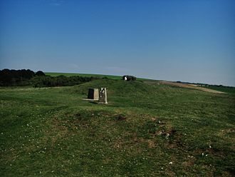 Old Winchester Hill - The concrete marker pointing to the natural top point of the hill.