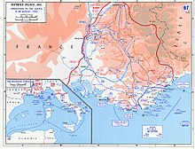 A map of southern France with the 45th Infantry Division landing at the center of a large invasion force.