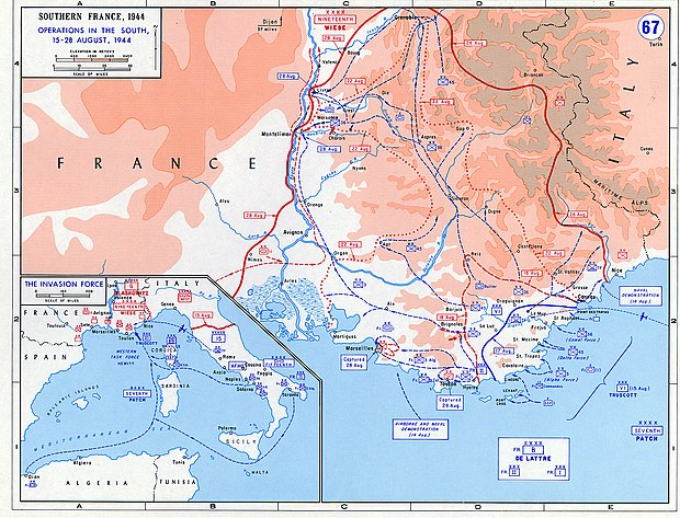 Tactical map of Operation Dragoon - 45th Infantry Division (United States)