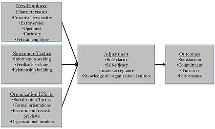 A model of onboarding (adapted from Bauer & Erdogan, 2011) Organizationalsocializationmodel.jpg