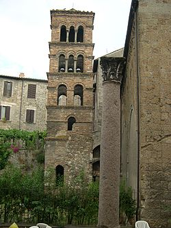 The Romanesque bell tower  of the church of San Silvestro