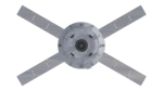 Orthographic view of Orion spacecraft, bottom with solar panels (22833020620).png