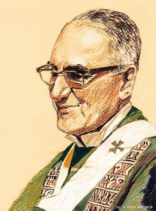 Erkebiskop Romero, pastelltegning av J. Puig Reixach