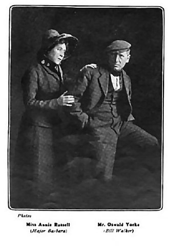"""Oswald Yorke - Annie Russell and Oswald Yorke in """"Major Barbara"""" ca. 1906"""