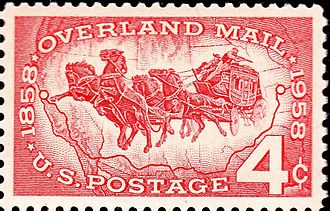 Butterfield Overland Mail - Overland mail commemorative stamp issued by the U.S. Post Office, 100th Anniversary, October 10, 1958
