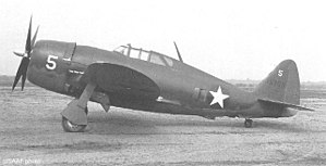 Republic P-47 Thunderbolt - P-47B-RE 41-5905 assigned to the 56th FG at Teterboro Airport.  Note the windows behind the cockpit and the sliding canopy, an indication that this was an early production P-47B.