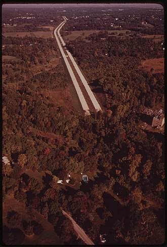 Interstate 476 - A stretch of the Blue Route near Haverford State Hospital in the early 1970s. It would not be completed until the early 1990s.
