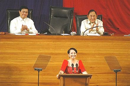 Gloria Macapagal Arroyo delivers her 7th State of the Nation Address at the Batasang Pambansa PGMA 7th SONA.jpg