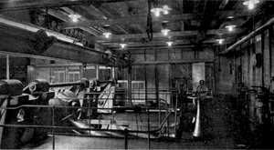 USS Wolverine (IX-64) - Seeandbee engine room view of starting platform.