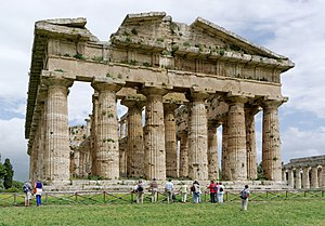Cella - Greek Temple of Apollo at Paestum with centrally located cella.