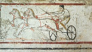 Lucania - A Lucani man riding a chariot, from a tomb in Paestum, Italy, 4th century BC