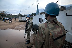 United Nations peacekeeping missions involving Pakistan - Pakistan army peacekeepers patrolling the streets of Uvira in South Kivu