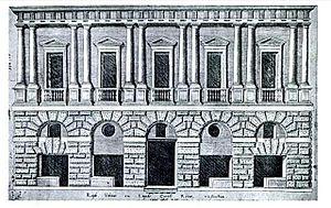Palazzo dei Convertendi - Palazzo Caprini's facade along Borgo Nuovo in a 1549 etching by Antoine Lafréry from Speculum Romanae Magnificentiae