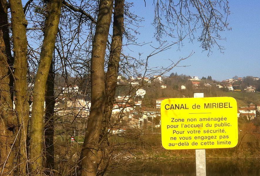 Panneau de danger, dans le  parc de Miribel-Jonage en bordure du canal de Miribel.