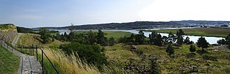 Bohus Fortress - Panorama from the Bohus Fortress of the Göta river dividing into Göta river and Norder river (down right)
