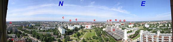 """P�nocno-wschodnia (180�) panorama Wroc�awia z 23. pi�tra budynku """"Poltegoru"""" przy ul. Powsta�c�w �l. 95"""