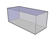 Vue 3D semi-transparente d'un parallélépipède rectangle à faces carrées. (1)