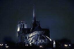 Notre Dame, vista nocturna desde río Sena