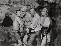 Pat Boone, Peter Ronson, James Mason, Arlene Dahl, Journey to the Center of the Earth, 1959.jpg