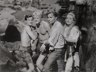 Journey to the Center of the Earth (1959 film) - L-R: Pat Boone, Peter Ronson, James Mason, and Arlene Dahl