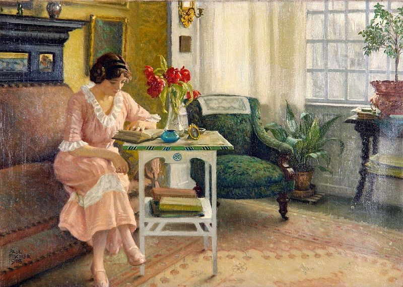 File:Paul Gustav Fischer - The artist's wife reading at home on Sofievej.jpg