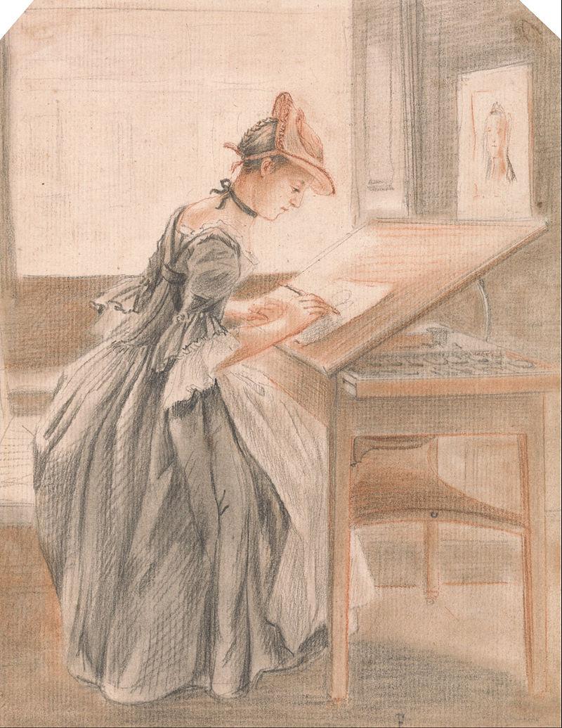 Пол Сэндби - Дама, Копирующая за чертежным столом - Google Art Project.jpg