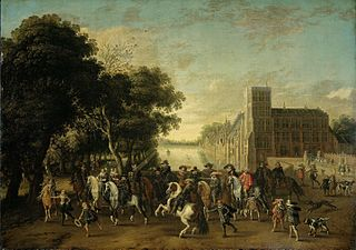 Prince Maurits, accompanied by Prince Frederik Hendrik, Frederick V of Bohemia and his wife Elizabeth Stuart, and others, on the Buitenhof, The Hague