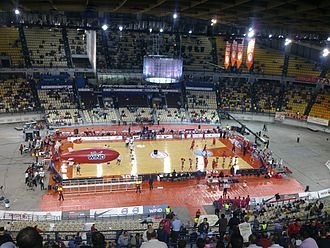 Peace and Friendship Stadium - Olympiacos and Orléans warm up before a Euroleague game at the Peace and Friendship Stadium, in October 2009.