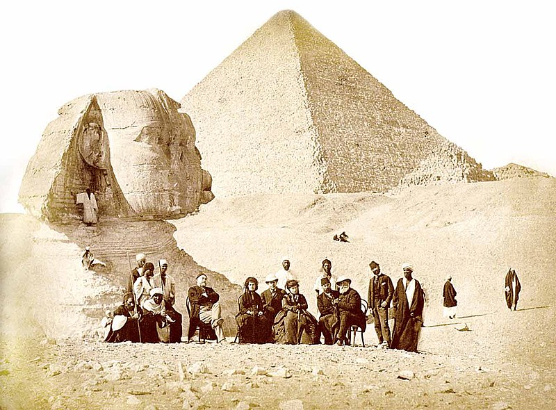 Auguste Mariette (seated, far left) and Pedro II (seated, far right) with others during the Emperor's visit to the Giza Necropolis at the end of 1871 Pedro II of Brazil in Egypt 1871.jpg