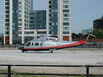 Peel Holdings helicopter (G-PACO) lands at Princes Dock, Liverpool (6).JPG