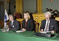 Per Unckel, tidigare Generalsekreterare, Berit Andnor, Sveriges samarbetsminister och Poul Schluter, Danmarks f.d. statsminister (Bilden ar tagen vid Nordiska radets session i Oslo, 2003).jpg
