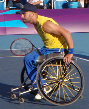 Peter Vikström - Peter Vikstrom playing during the London 2012 Paralympic Men's Doubles semifinal.