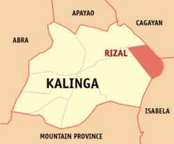 Map of Kalinga with Rizal highlighted