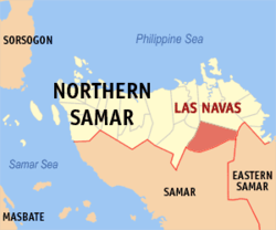 Map of Northern Samar with Las Navas highlighted
